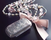 Jane Austen Inspired Vintage Chatelaine with Rose Quartz, Pearls, Tourmaline, Moonstone, and Topaz