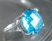 """Swiss Blue Topaz and Sterling Silver Cocktail Ring - """"Let Them Eat Cake Ring Collection"""""""