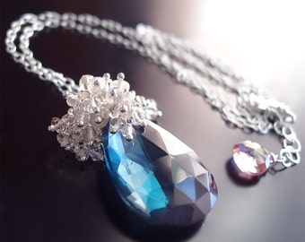 Custom Made to Order - Sterling Silver London Blue Topaz Necklace with Oregon Susnstone and Scapolite
