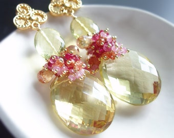 Custom Made to Order - Lemon Quartz Earrings with Pink Sapphire, Red Spinel, Tourmaline, and Topaz