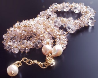 CUSTOM Made Just For You - Pink Morganite and Akoya Pearl Cluster Necklace