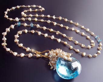 Custom Made to Order - 14k Swiss Blue Topaz and Japanese Saltwater Keishi Pearl Necklace