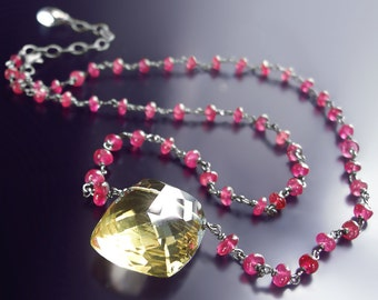CUSTOM Made to Order - Lemon Quartz and Pink Sapphire Necklace