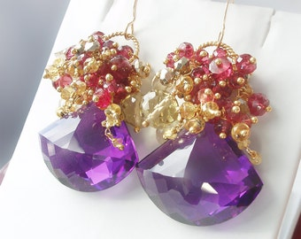Custom Made to Order - 14k Gold Amethyst Earrings with Yellow Sapphire, Red Spinel, Citrine, and Gold Pyrite