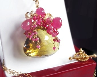 Custom Made to Order- Hot Pink Sapphire and Bi-Color Quartz Necklace with Citrine and Hot Pink Tourmaline