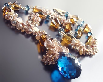 Custom Made To Order - London Blue Topaz Statement Necklace With Champagne Topaz, Imperial Topaz, Golden Rutilated Quartz