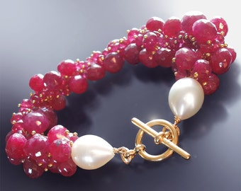 Custom Made to Order - 14k Ruby Bracelet with Pearls