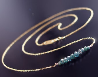 CUSTOM made to order - 14k Petite Blue Diamond Necklace