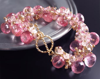 Custom Made to Order - Mystic Pink Topaz Bracelet with Pink Tourmaline, Rose Quartz, Pink Zircon, and Champagne Quartz