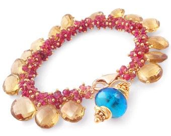 Pink Tourmaline Bracelet with Whiskey Quartz and London Blue Topaz