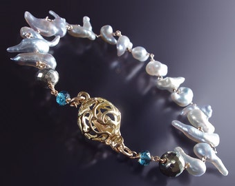 Custom Made to Order - 14K Saltwater Keishi Pearl Bracelet with London Blue Topaz, Pyrite