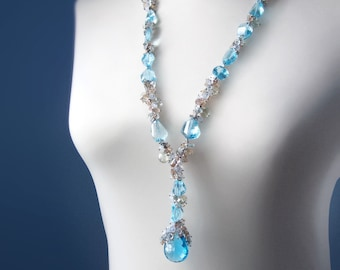 CUSTOM Made to Order - Luxury Swiss Blue Topaz Necklace with Aquamarine, Moonstone, Amethyst, and Sapphires