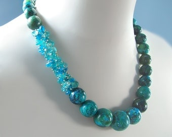 Custom Made to Order - Chrysocolla and Apatite Statement Necklace