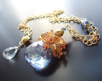 Sapphire Necklace with Hessonite Garnet, and Citrine  - Custom Made to Order