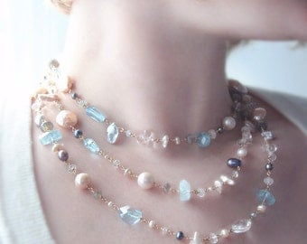 Layer Necklace with Pearls, Swiss Blue Topaz, Labradorite, and Moonstone - Custom Made to Order