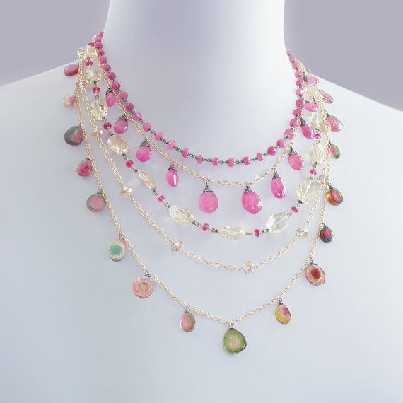 RESERVED for D - Pink Sapphire Statement Necklace with Watermelon Tourmaline, Scapolite, and Quartz