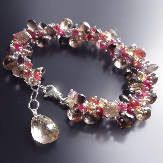 Custom Made to Order - Champagne Topaz Bracelet with Sillimanite, Iolite, Citrine, and Plum Sapphires