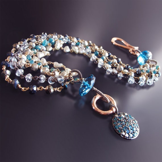 Blue Diamond Bracelet with Japanese Saltwater Pearls, White Topaz, and London Blue Topaz