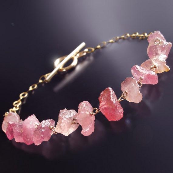 Rough, Uncut Pink Sapphire Bracelet