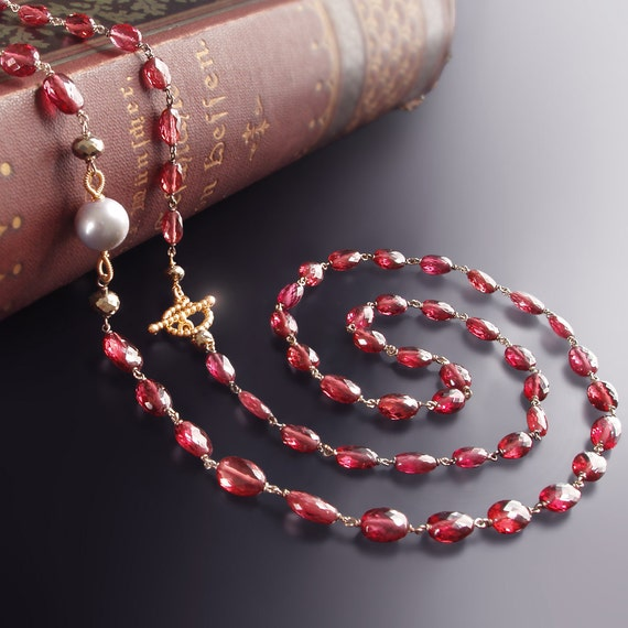Custom Made to Order - 14K Garnet Necklace with a Tahitian Pearl and Pyrite