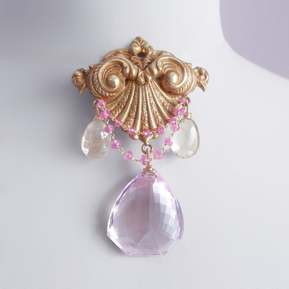 RESERVED for M - Antique Art Nouveau Brooch with a Natural, Unheated Pink Amethyst