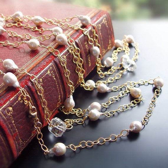 Long Flapper Necklace With Saltwater Akoya Pearls and Crystal Quartz - CUSTOM Made to Order