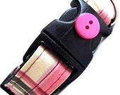 Eco Dog Collar - Renewable Pink Green Plaid Cotton