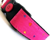 Eco Dog Collar - Recycled Pink Rainbow Hearts Cotton