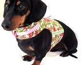 Eco Dog Harness - Recycled Pink Green Floral Cotton - Small