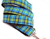 Eco Dog Leash - Renewable Blue Green Plaid Cotton