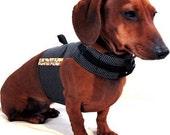 Eco Dog Harness - Renewable Black Dot Cotton - Large