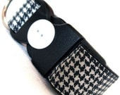 Eco Dog Collar - Repurposed Black White Plaid Cotton