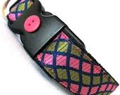 Eco Pet Collar - Recycled Pink Green Necktie