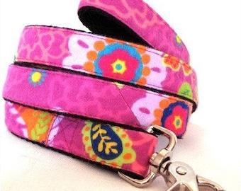 Eco Dog Leash - Renewable Pink Floral Cotton