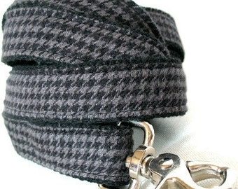 Eco Dog Leash - Renewable Grey Houndstooth Cotton