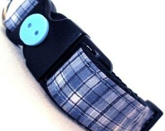 Eco Dog Collar - Repurposed Blue Plaid Cotton