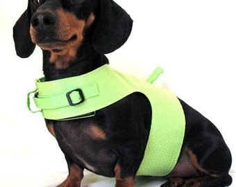 Eco Dog Harness - Renewable Lime Green Dot Cotton - Small