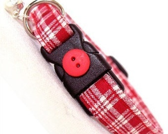 Eco Cat Collar - Renewable Red Plaid Cotton