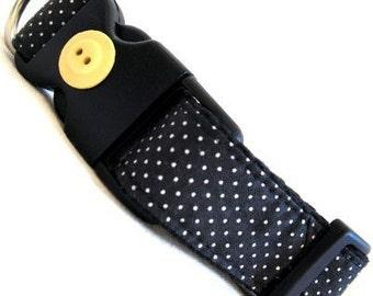 Eco Dog Collar - Renewable Black Dot Cotton