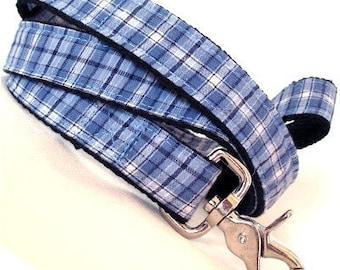 Eco Dog Leash - Repurposed Blue Plaid Cotton