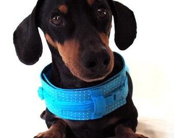 Eco Dog Harness - Renewable Aqua Dot Cotton - Medium