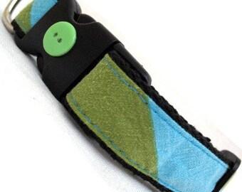 Eco Pet Collar - Repurposed Lime Aqua Stripe Cotton