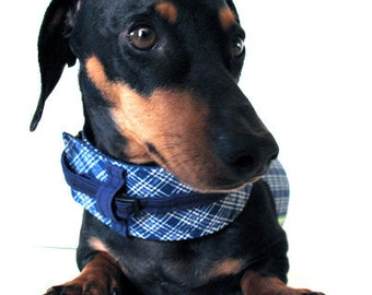 Eco Dog Harness - Renewable Navy Blue Plaid Cotton - Large