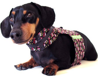 Eco Dog Harness - Renewable Black Red Flowers Cotton - Large