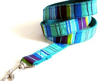 Eco Dog Leash - Renewable Aqua Blue Purple Stripe Cotton