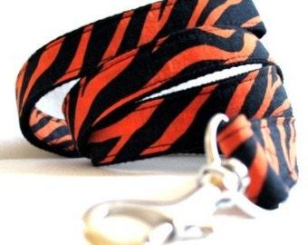 Eco Dog Leash - Renewable Orange Black Leopard Cotton