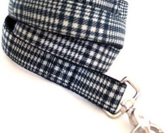 Eco Dog Leash - Repurposed Black White Plaid Cotton