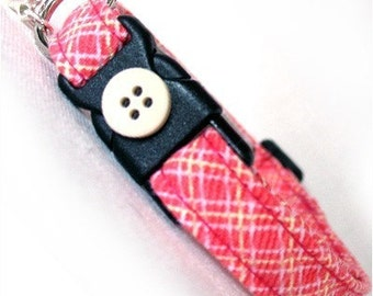 Eco Cat Collar - Renewable Pink Plaid Cotton