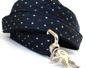 Eco Pet Leash - Recycled Navy Dot Necktie