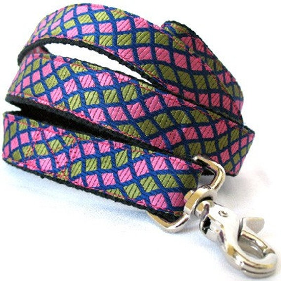 Eco Pet Leash - Recycled Pink Green Necktie